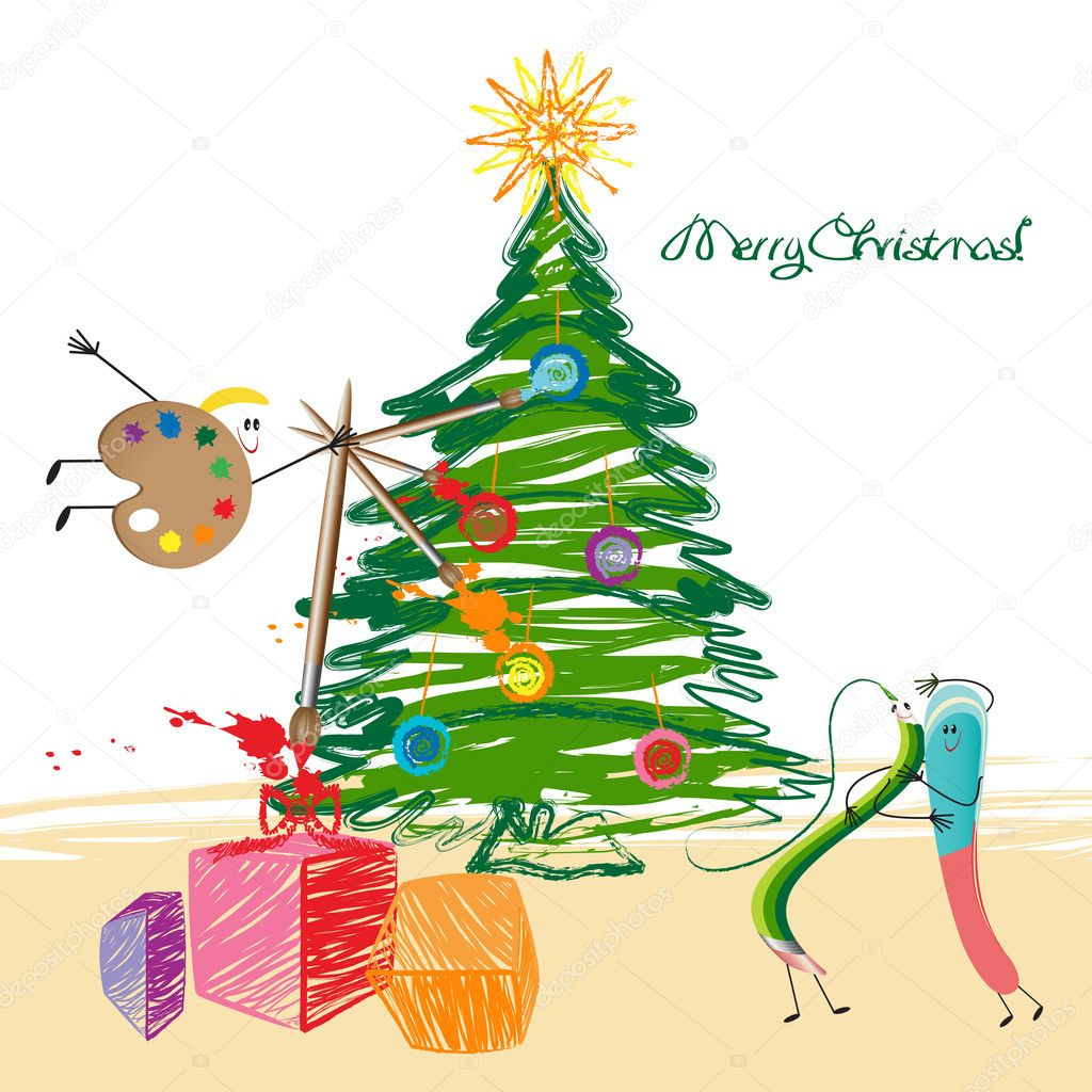 Christmas tree, green pencil, eraser and palette   Stock Vector #9681233