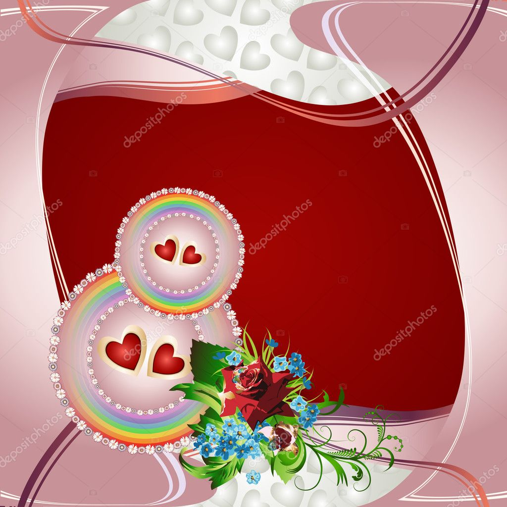 Congratulation card with red hearts, rose and cornflowers. Illustration Saint Valentine's Day. — Stock Vector #9684117