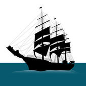 Black ship — Stock Vector