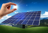 Photovoltaic panel mounted — Stock Photo