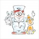 Ilustración de un médico - veterinario — Vector de stock