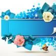Banner design with roses - Stock Vector