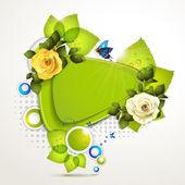 Zielony sztandar z różami — Wektor stockowy