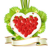 Heart of strawberry — Stockvector