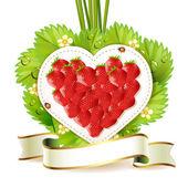 Heart of strawberry — Stock Vector