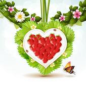 Srdce jahoda — Stock vektor