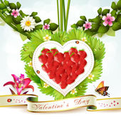 Heart of strawberry — Vector de stock