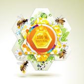 Bijen en honingraten — Stockvector