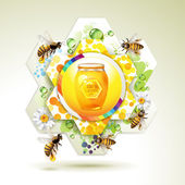 Glass jar with bees — Stock Vector
