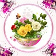 Flowers in flowerpot - Stock Vector
