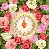 Diseño del reloj y rosas — Vector de stock