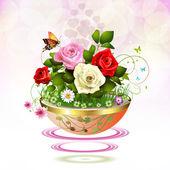 Flowers in flowerpot — Stock Vector
