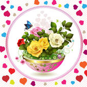 Flowers in flowerpot — Vector de stock
