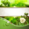 Green background with rose - Stock Vector