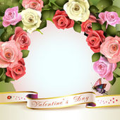 Floral background with ribbon — Vector de stock