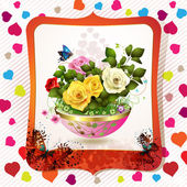 Flowerpot with roses — Stock vektor