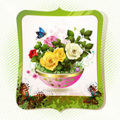 Flowerpot with roses — Stock Vector