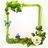 Mirror with rose — Stock Vector