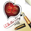 Hearts of love and pen — Stock Vector