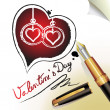 Hearts of love and pen — Stock Vector #9727361