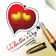 Hearts of love and pen — Stock Vector #9727390