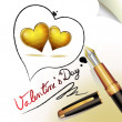 Hearts of love and pen - Stock Vector