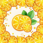 Slices orange with leaf — Stock Vector