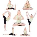 Yoga exercises collage — Stock Photo
