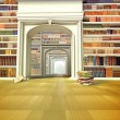 The big library with books on the floor - Stock Photo