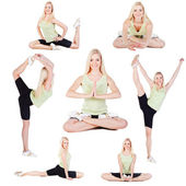 Yoga exercises collage — Stock Photo