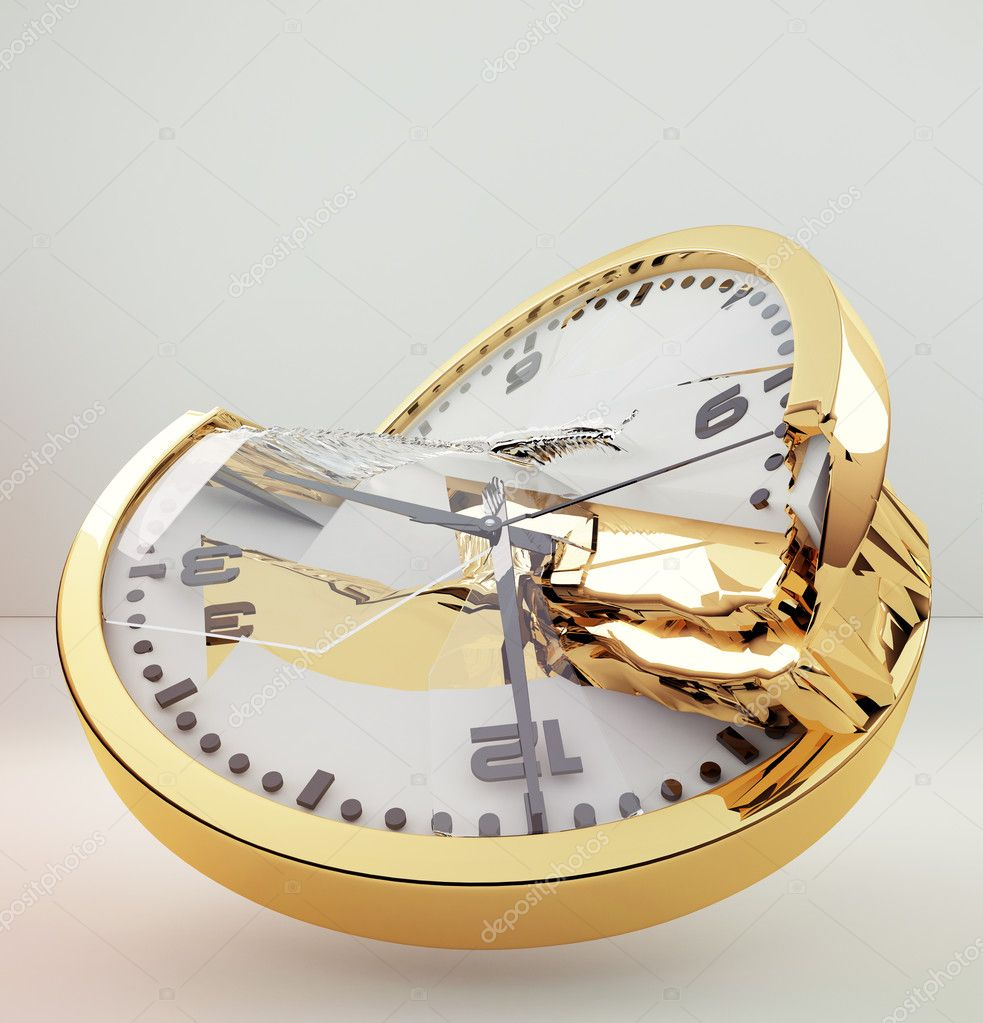 Gold broken clock on light background broken time spending time  Stock Photo #9036479