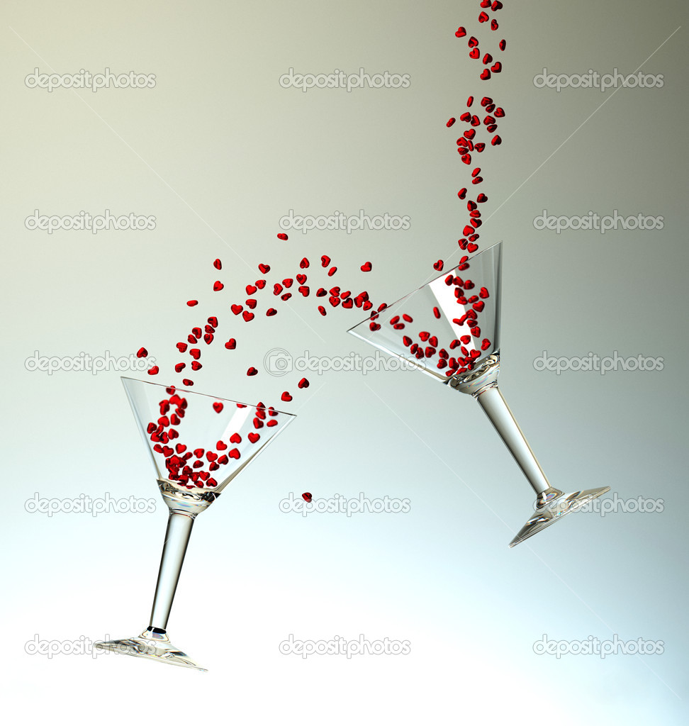 Dynamic cocktails with small red hearts on light background — Stock Photo #9036532