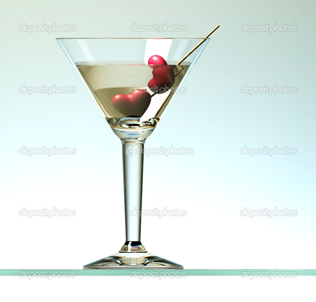 Two hearts on stick in martini cocktail on light background — Stock Photo #9036842