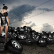 Stock Photo: Africwomon tires