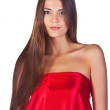 Fashion girl in red dress — Stock Photo #9166205