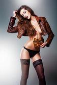Pretty erotic woman in venetian masquerade mask — Stock Photo