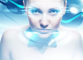 Robot woman with lighting eyes and virtual interfase — Stock Photo