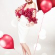 Pin up sexy blond woman in red blouse with balloons — Stock Photo
