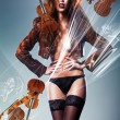Beautiful erotic sexy woman in jacket and panties with violins — Stock Photo