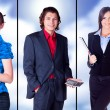 Business team is showing something with the hand and smiling — Stock Photo
