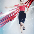 Sexy pinup woman as american flag - Foto Stock