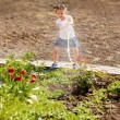 Little girl watering flowers in the garden — Stock Photo #10412111