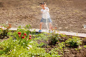 Little girl watering flowers in the garden — Stock Photo