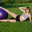 Young wommaking fitness exercises — Foto de stock #10581366
