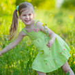 Cute little girl with field flowers — Stockfoto