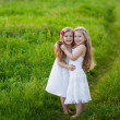 Two lovely girls playing on meadow — Stock Photo #10726695