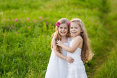 Two lovely girls playing on meadow — Stock Photo