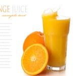 Glass with splashing orange juice and oranges isolated on white — Stock Photo