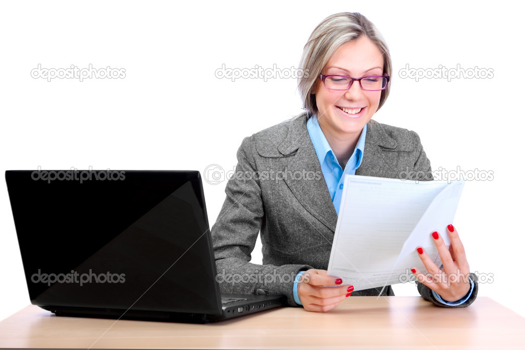 Cute business woman wearing spectacles, working on a laptop — Stock Photo #9195496