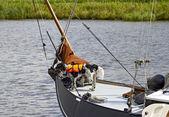 Dog on boat — Stock Photo